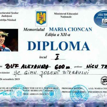 Concursului Memorialul Maria Cioncan și eleva Buf Alexandra